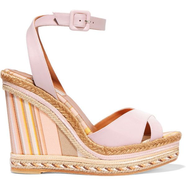 Valentino Leather and striped canvas espadrille wedge sandals,... (2,070 MYR) ❤ liked on Polyvore featuring shoes, sandals, white platform shoes, wedge sandals, platform sandals, white sandals i wedge espadrilles