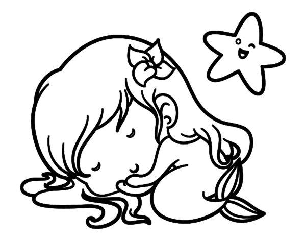 Dibujos De Sirenas Para Colorear Pintar E Imprimir: Dibujo De Sirenita Chibi Durmiendo Para Colorear