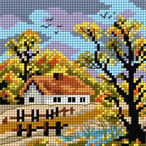 Pretty needlepoint cottage scene