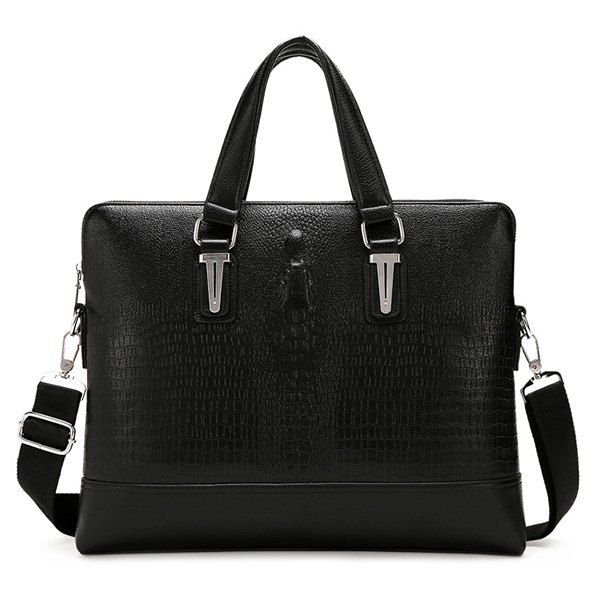 Embossing Dark Colour Metal Briefcase - BLACK