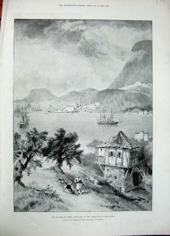 Antique Print of 1896 Crete Suda Bay Island Ships Houses Mountains