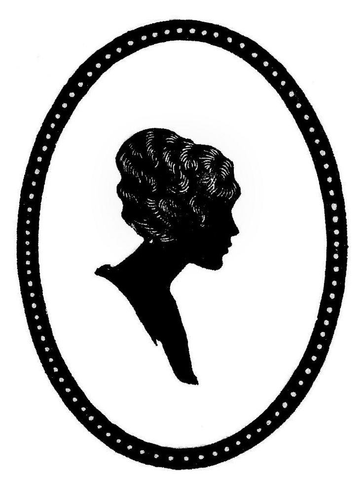 vintage silhouettes | Vintage Silhouette Clip Art - Woman in Oval Frame - The Graphics Fairy