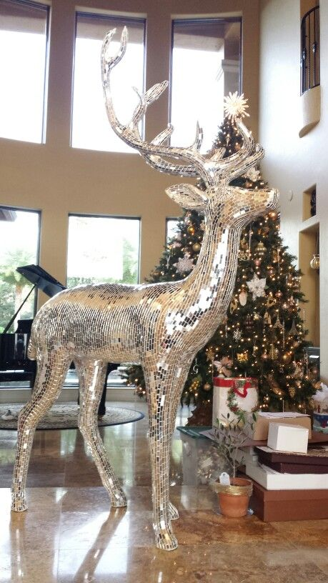 Mirrored Life Size Reindeer Adds Major Sparkle To Your
