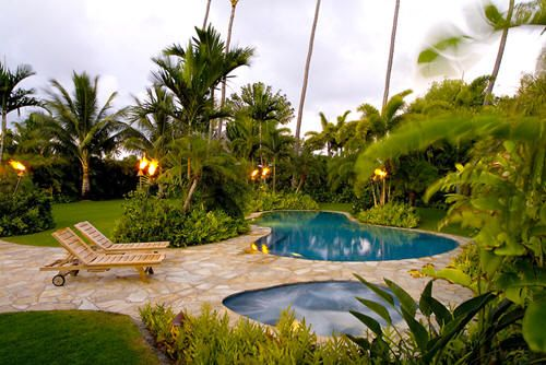 I LOVE these tiki torches: Landscaping Ideas, Pools Landscape, Outdoor Living, Backyard Idea, Gardens Idea, Tropical, Landscape Idea, Backyard Oasis, Backyard Pools