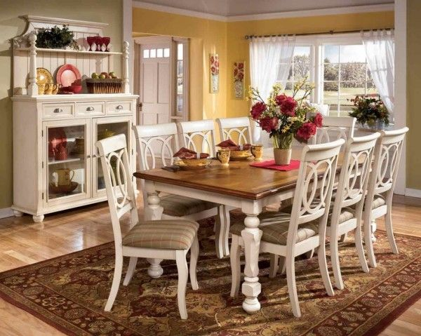 Nice Country Style Kitchen Table Sets With Solid Wood Countertops Close To High  Back Dining Chairs Also
