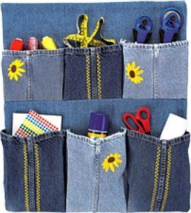 Organizer that can be made from a pair of old jeans.