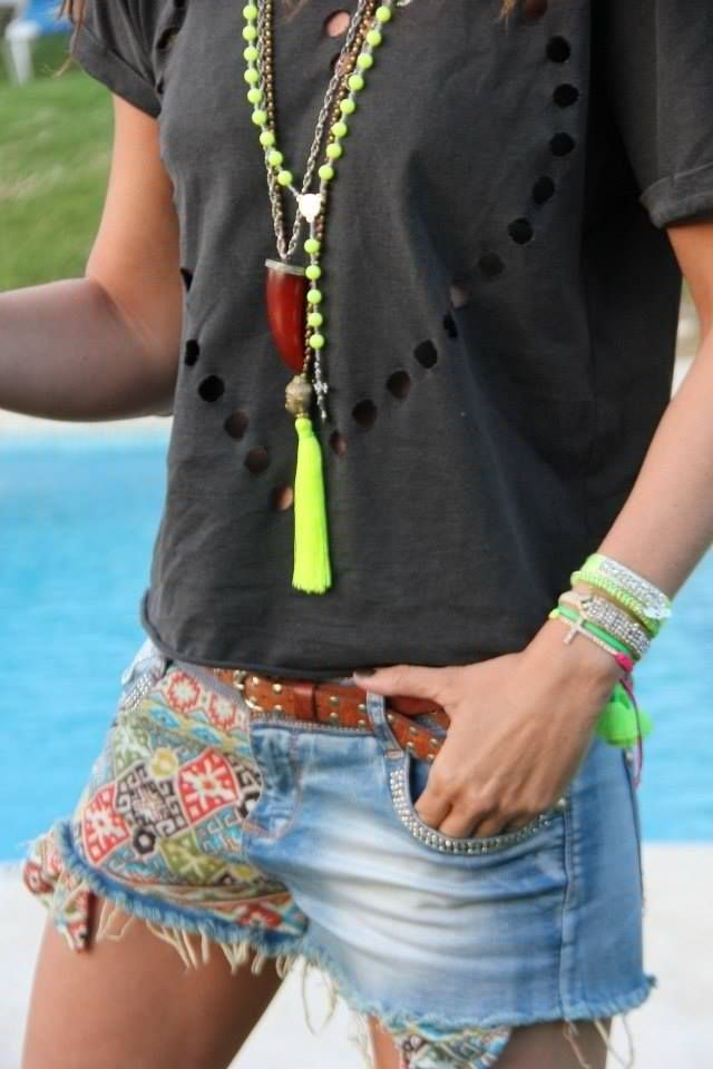 Modern Boho chic style gypsy embellished blue jean shorts, hippie layered tassel necklaces. For the BEST Bohemian fashion trends FOLLOW http://www.pinterest.com/happygolicky/the-best-boho-chic-fashion-bohemian-jewelry-gypsy-/ now.