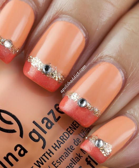 Peach with Glitter: Nails Art Ideas, Nailart, Nails Design, Color, China Glaze, Glitter Nails, Naildesign, Peaches, Nail Art