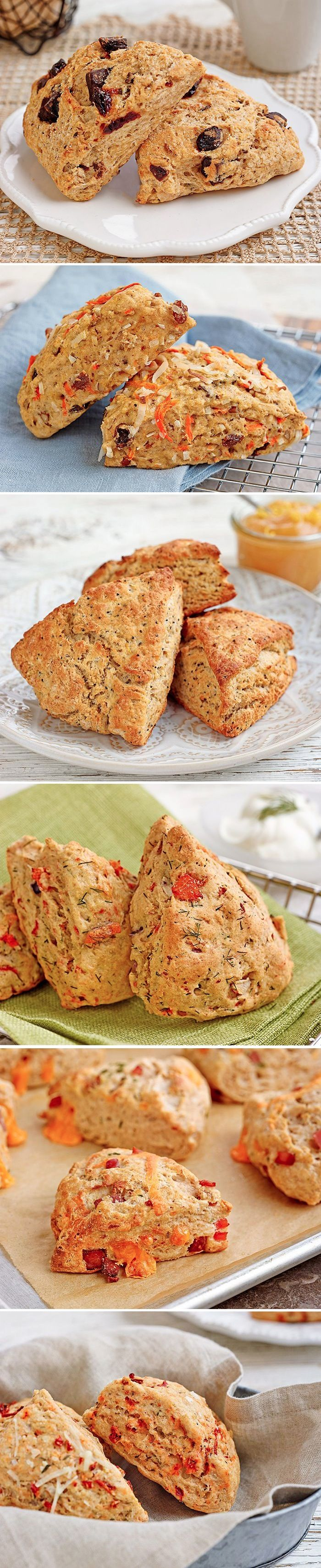 6 Sweet & Savory Scone Recipes for Lazy Weekend Brunches: These healthy scones have whole-wheat flour and just enough butter to give them great flavor, along with sweet or savory ingredients to make each variation special. The result? The easiest, healthiest and most delicious scones you've ever had!
