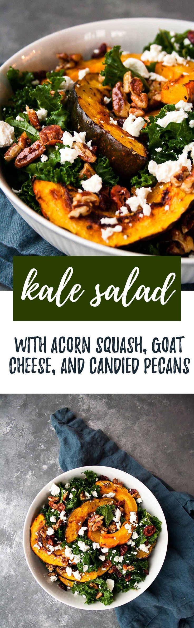 Kale Sald with Acorn Squash, Goat Cheese, and Candied Pecans | Paleo | hungrybynature.com
