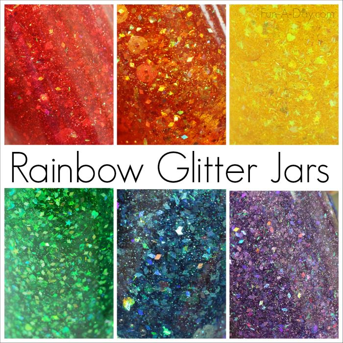 Rainbow Glitter Jars - perfect for kids to make as calming bottles or colorful discovery bottles