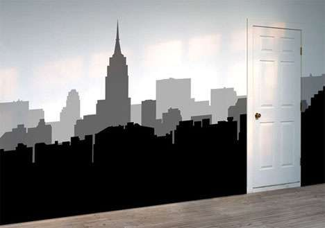 Removable Stickers Turn Your Walls into Urban Skylines #uniquedecals #stickerdecals trendhunter.com