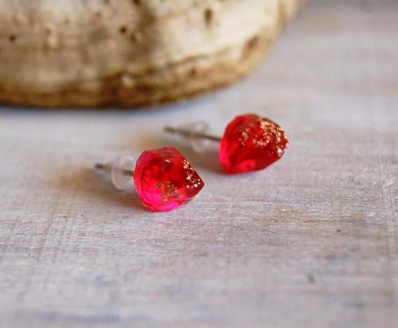 Druzy studs Raw stud earrings Summer outdoors gift Druzy