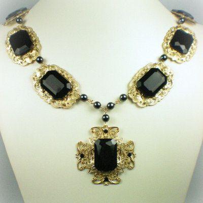 Catherine of Aragon Onyx Cross Necklace