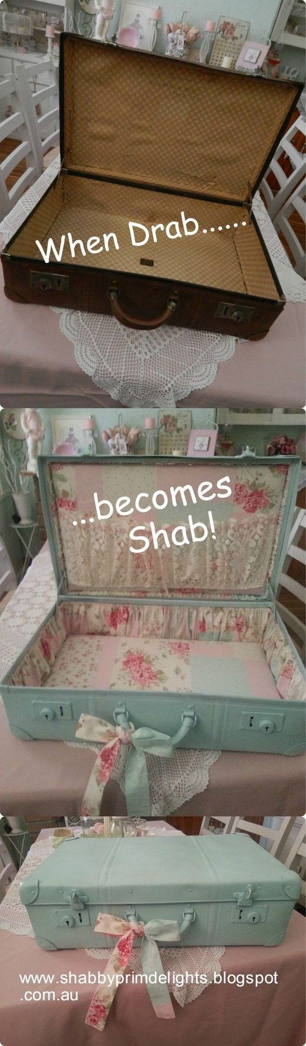 Vintage Suitcase Makeover. Give the old suitcase a pretty and feminine look with some turquoise paints and some floral fabric.