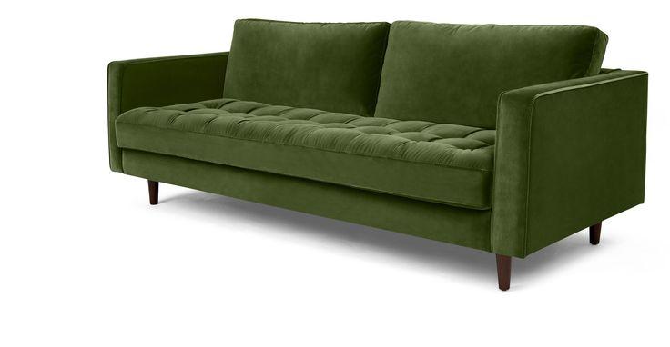 Scott+3-Sitzer-Sofa,+grasgrüner+Baumwollsamt+
