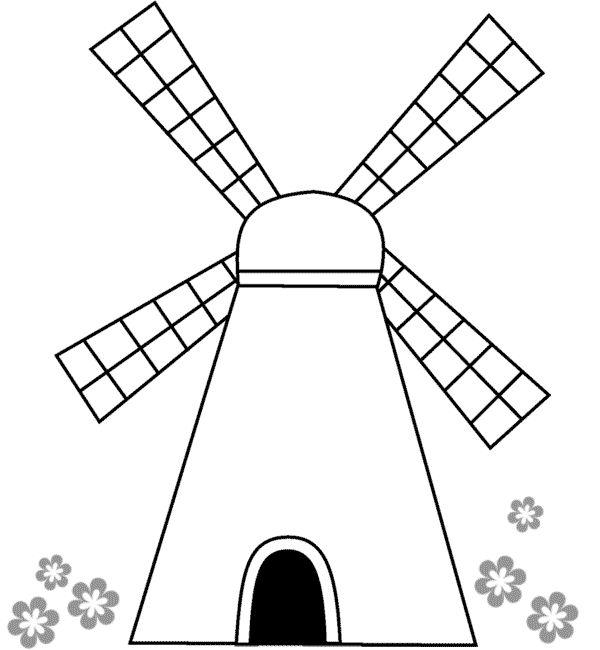 Картинка мельницы для раскрашивания