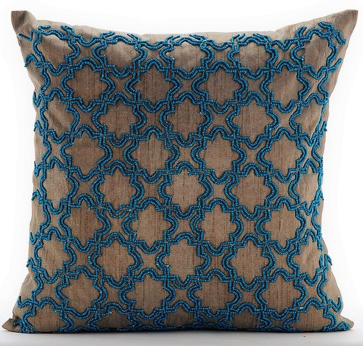 "Luxury Brown Pillows Cover, 16""x16"" Silk Pillows Cover, Square Beaded Lattice Trellis Turkish Pattern Pillows Cover - Turquoise Chase by TheHomeCentric on Etsy"