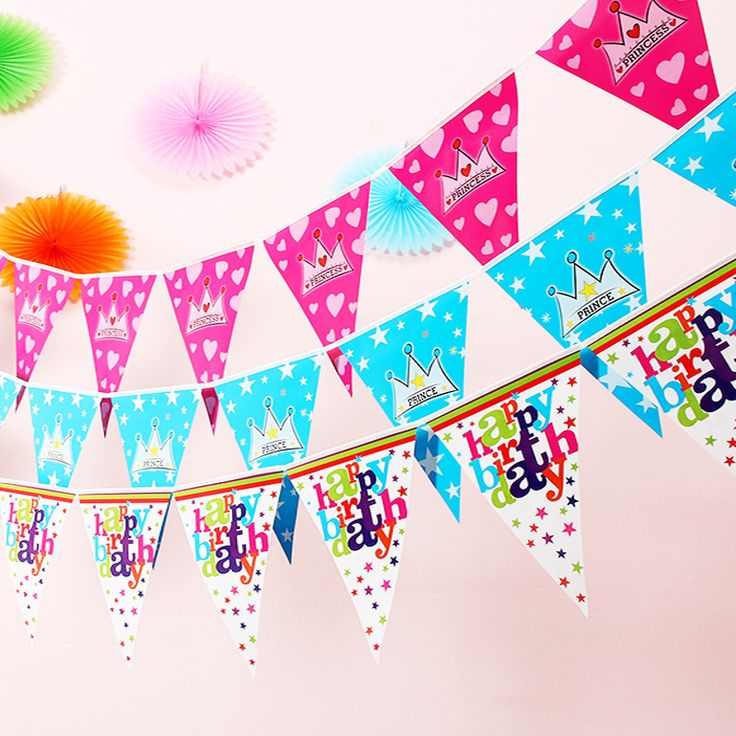 1sets Happy birthday/crown paper flag/Kids birthday party Banner Flag hang Pennants Banner Decor Supplies flags party supplies //Price: $9.95 & FREE Shipping //     hollidayssupplies
