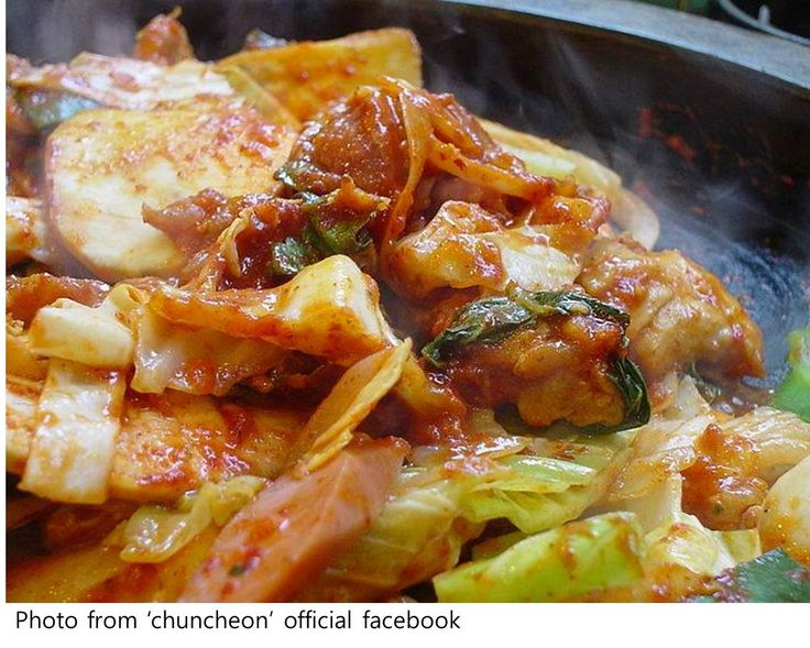 Dakgalbi is a recent invention, created in the 1960s. It's spicy, sweet and meaty, served hot on the same table it's cooked on