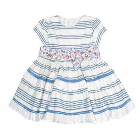 Una monada! Vestido de rayas blanco y azul de la marca Marta y Paula en Outlet de Bebé. Compra al mejor precio la moda de bebé que más te gusta  www.pepaonline.com