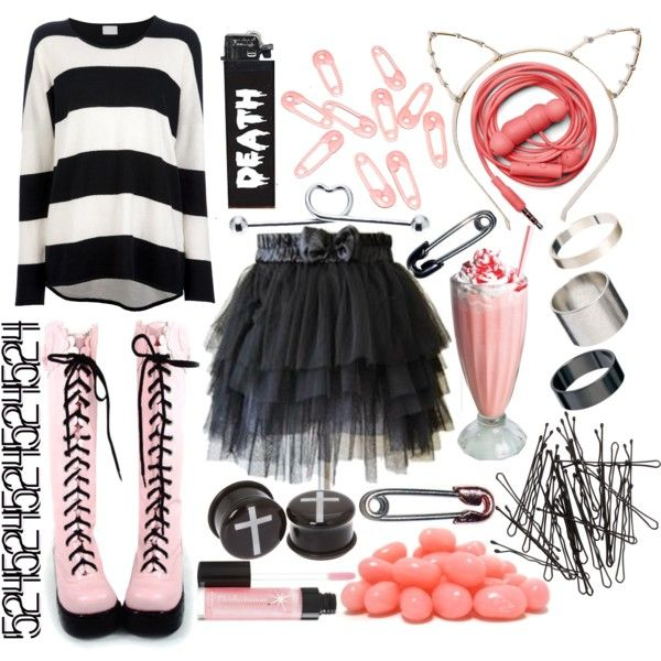 """""""Pastel-Goth-ish?"""" by crazynarwhall on Polyvore - I absolutely adore the boots and the jumper and the skirt, and, well.... All of it!"""