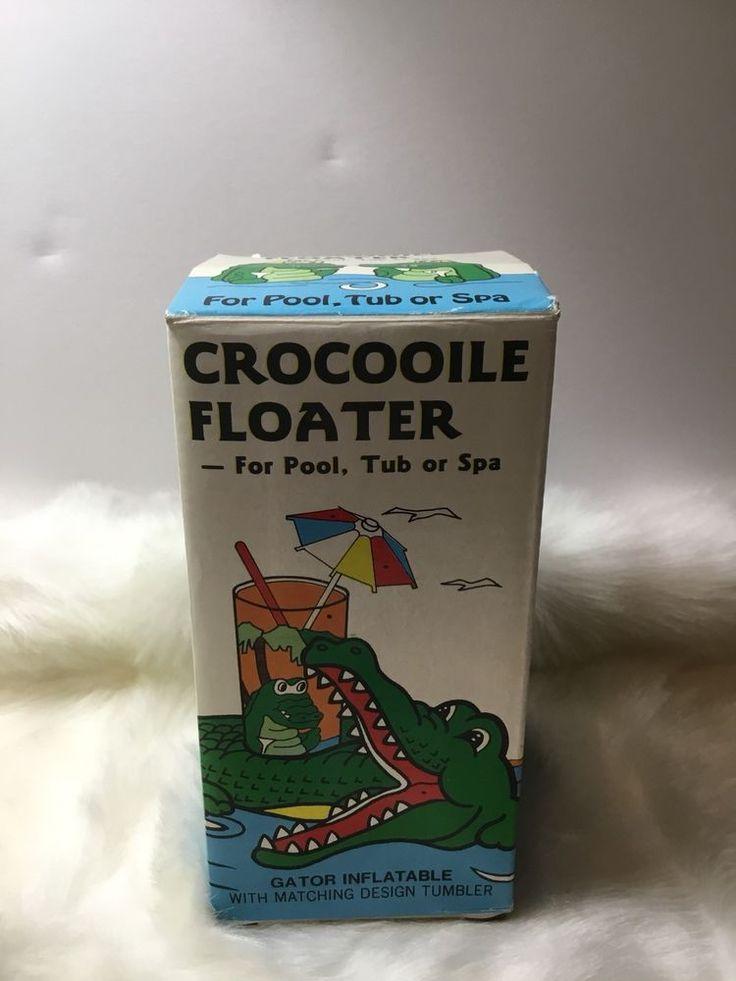 Vintage Inflatable Crocodile Floating Drink Holder With Plastic Tumbler    eBay