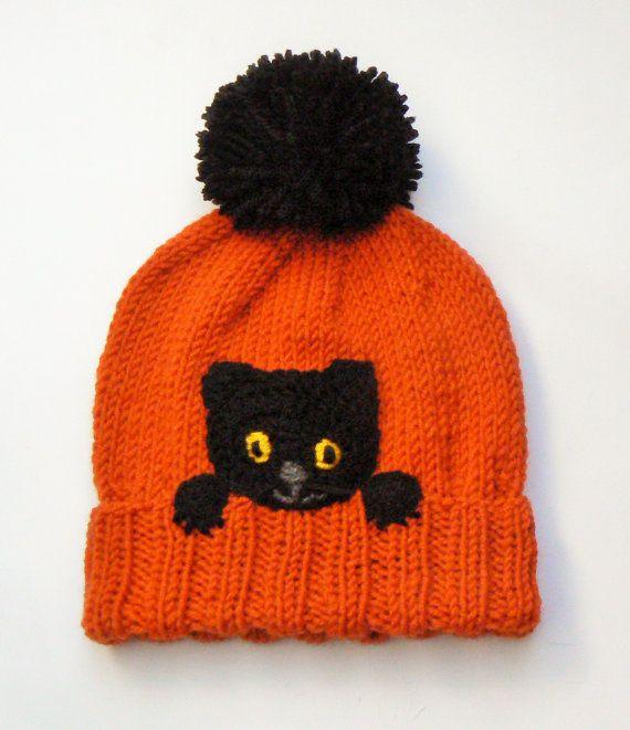 Knit Kids Pom Pom Hat with Kitten Black Cat Hat  Black & by 2mice, $34.00