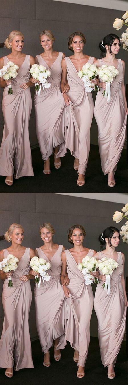 Sheath V-Neck Peal Pink Satin Ankle-Length Bridesmaid Dress