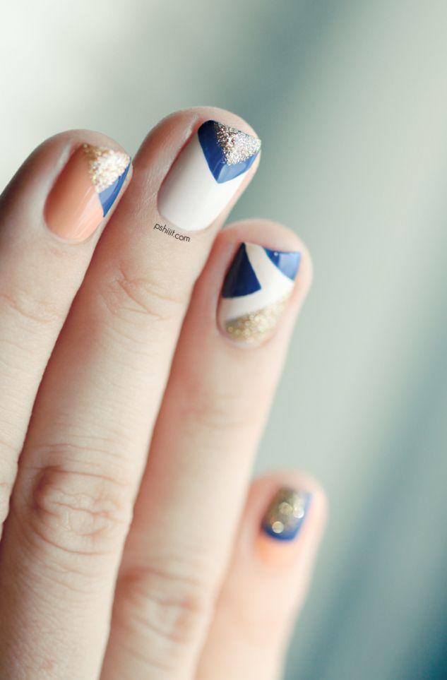 #nails #royal blue #glitter #white #peach