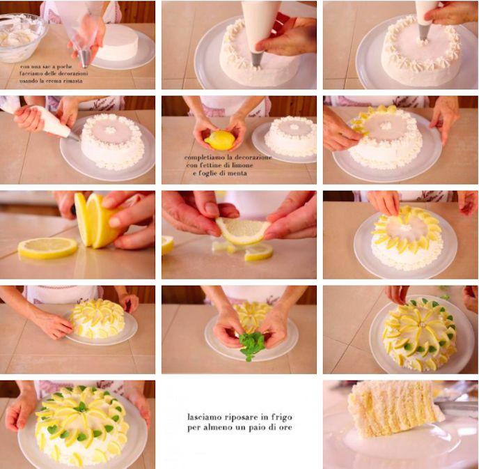 La torta delizia al limone va tenuta un paio d'ore in frigo prima di essere servita.