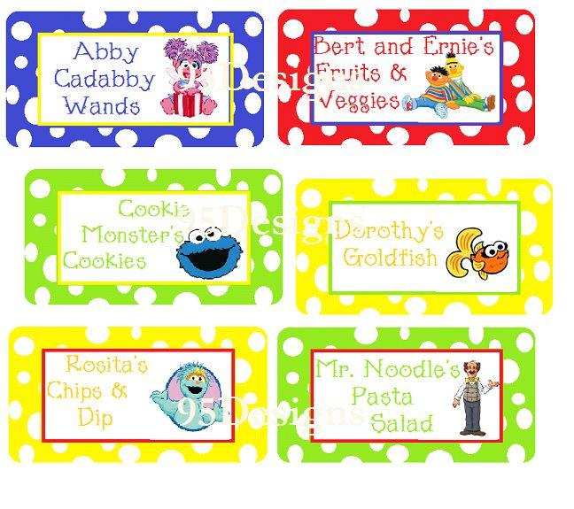 Sesame Street Food Labels PDF Download @ www.facebook.com/95Designs