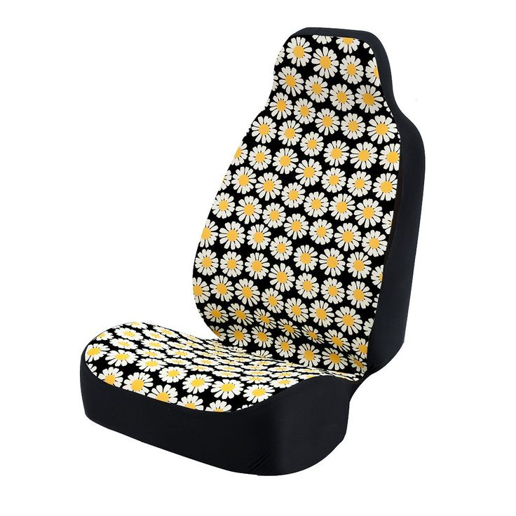Amazon.com: Coverking Universal Fit 50/50 Bucket Flower Fashion Print Seat Cover - Daisy Crazy (Yellow and White Daisies with Black Background): Automotive