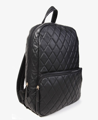 Looks cool! Quilted faux leather backpack!