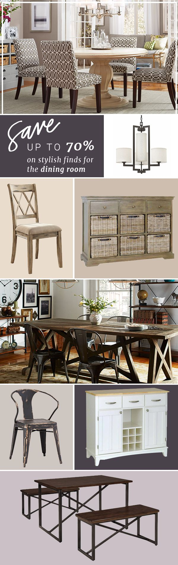 Whether you're enjoying a family dinner or hosting your closest friends, make sure your dining space is just how you like it. Pick an arrangement that fits your needs and your space; a round table can fit more in a smaller area while tables with built-in extension leaves are great for large gatherings. Don't forget to consider storage: a solid sideboard can keep your beloved china safe and act as a serving space for holiday feasts, too. Sign up at Joss & Main and get up to 70% off!