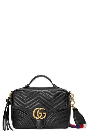 dfdbf66c4cc57d GUCCI SMALL GG MARMONT 2.0 MATELASSE LEATHER CAMERA BAG WITH WEBBED STRAP -  BLACK. #gucci #bags #shoulder bags #suede #