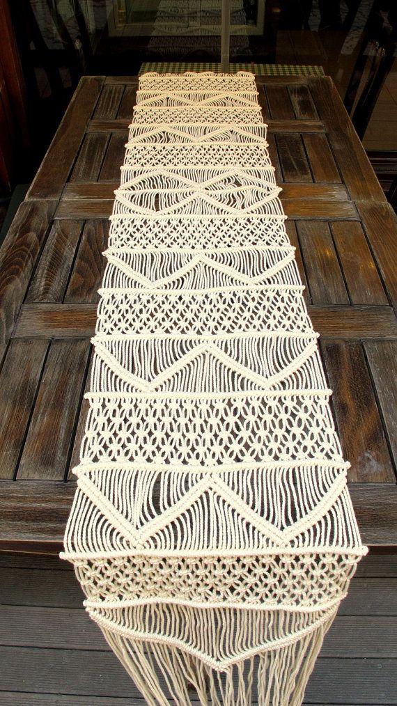 Camino de mesa tejida a mano Macrame camino de mesa de boda a