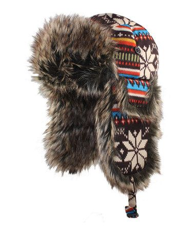 Take a look at this Brown & Black Snowflake Trapper Hat by Jeanne Simmons Accessories on #zulily today!