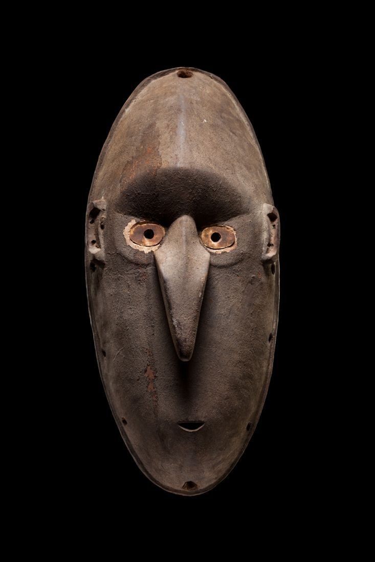 This mask comes from the Coastal Ramu River area of Papua New Guinea