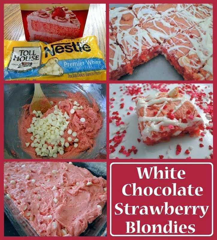 """5 Ingredient White Chocolate Strawberry Blondies - """"Disclamer - I do not claim that I """"Invented"""" this recipe! However, it taste amazing!!!"""" @allthecooks #recipe"""