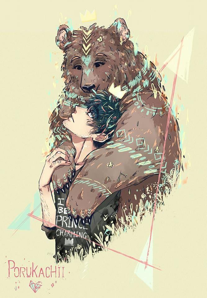"porukachii: ""My interpretation of Princess Preziosa (girl transform into a bear) and Prince Charming from the fairy tale story The She-Bear by Giambattista Basile. """