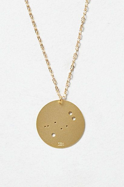 Brass Zodiac Pendant Necklace #anthropologie