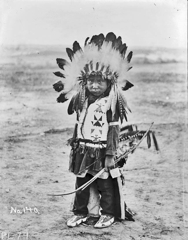 Harry With Horns. A Sioux boy. Late 1890s. Rosebud Reservation, South Dakota. Photo by Jesse H. Bratley.