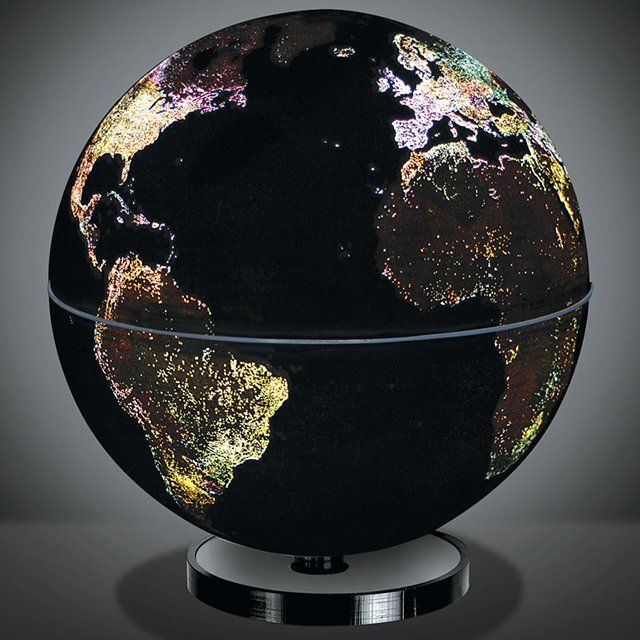 "At night, The City Lights 10"" Globe automatically illuminates the cities of our world as seen from orbit, capturing their ethereal beauty. The City Lights 10"" Globe automatically rotates and illuminates the cities of our world using a special patented induction system. Simply place your City Light globe on its elegant base and it will begin to magically revolve, displaying Earth's unique light show."