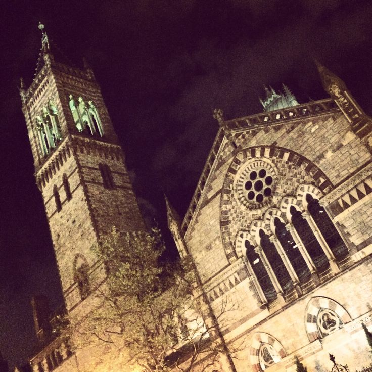 """A beautiful night view of a Copley Square landmark: Old South Church, located across the street from the Boston Public Library in the Square's NW corner. According to the church's website: """"the building, formally known as the """"New"""" Old South Church, is the third home of the congregation, which was gathered in 1669. The building was completed in 1875. . . The Old South congregation baptized Benjamin Franklin on the day he was born in 1706."""""""