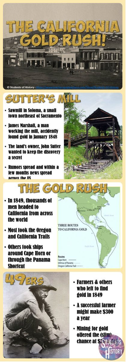 Super-engaging PowerPoint presentation on the California Gold Rush! Lots of great visuals and focused-text to keep your students engaged in your lesson!