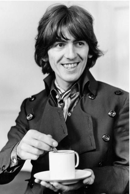 Rare Beatles. George Harrison in The Beatles, making a nice cup of tea :-)