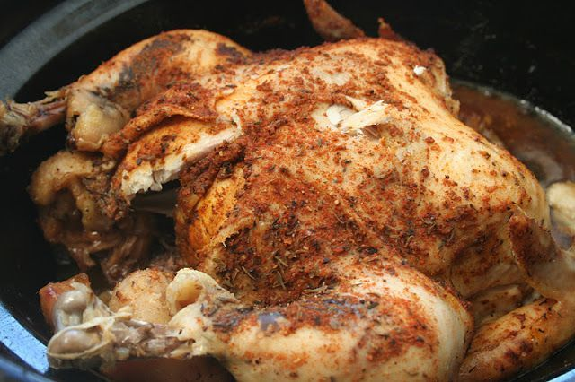 Slow Cooker Whole Chicken. An easy way to get the flavor and taste of a rotisserie chicken using a crockpot. ohsweetbasil.com