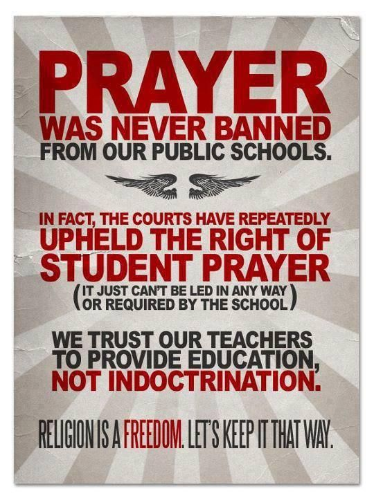the issue of prayer in public school The secretary of education to issue guidance on constitutionally protected prayer  in public elementary and secondary schools in addition.