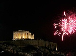 Christmas in Athens Greece: Fireworks over the Acropolis